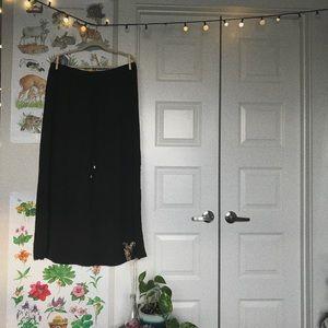Black Maxi Skirt, Drawstring Waist